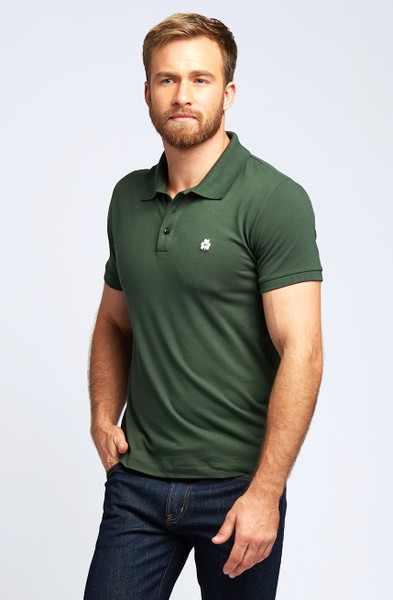 August McGregor Clover Pima Cotton Pique Polo in Olive Green