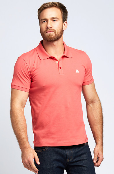 August McGregor Clover Pima Cotton Pique Polo in Coral