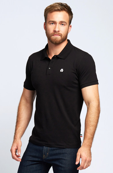 August McGregor Clover Pima Cotton Pique Polo in Black