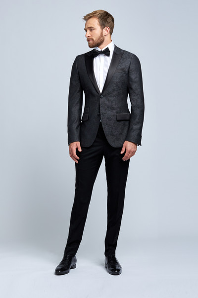 August McGregor Charcoal Grey Damask Wool Evening Jacket with Tuxedo Pants
