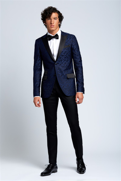 August McGregor Midnight Navy Camoflauge Evening Jacket with Tuxedo Pants