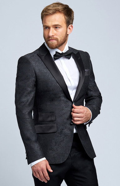 August McGregor Charcoal Grey Damask Wool Evening Jacket