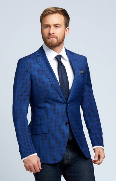 August McGregor Slim-fit Four Season Wool Jacket in Multi Blue Mini Check Plaid
