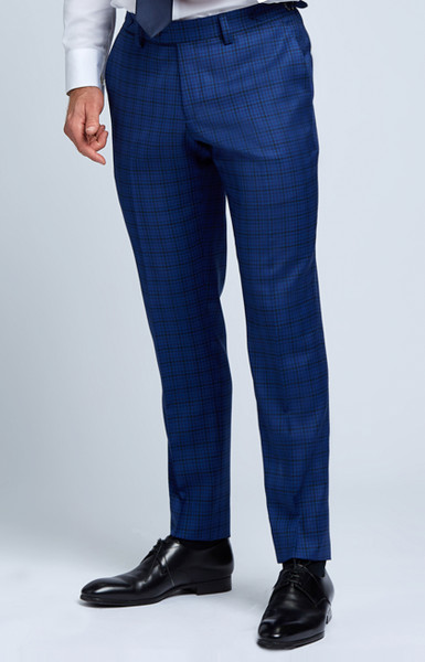 August McGregor Slim-fit Four Season Wool Trousers in Multi Blue Mini Check Plaid