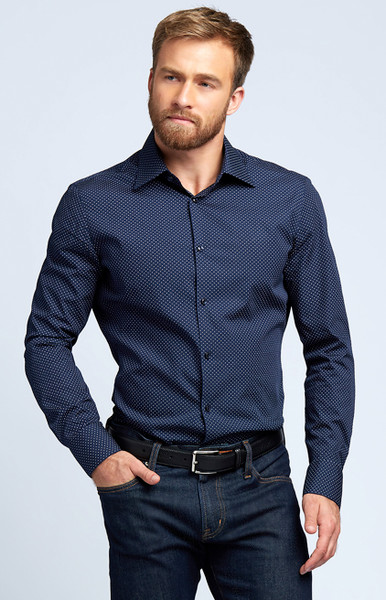August McGregor Button-Front Dress Shirt in Navy Polka Dot with convertible cuffs