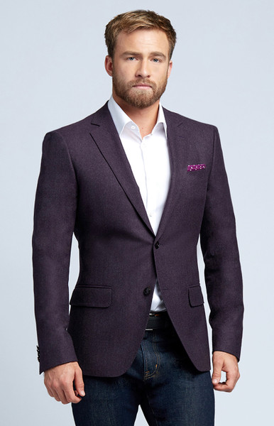 August McGregor Plum Flannel Wool Sport Coat