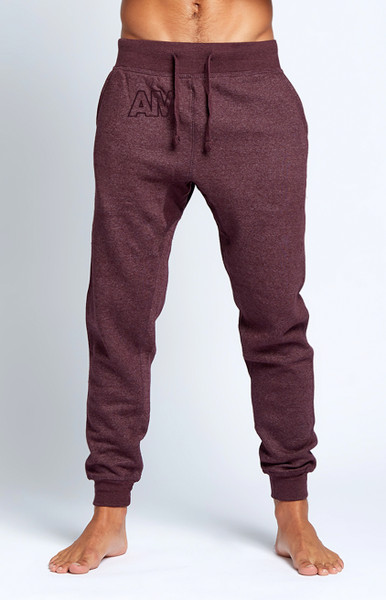August McGregor   AM Embroidered Logo Joggers in Plum