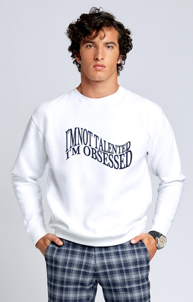 August McGregor I'm Obsessed Sweatshirt in White