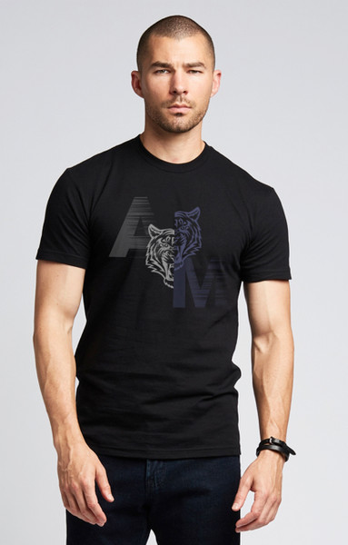 August McGregor Yin Yang Tiger Crewneck T-Shirt in Black