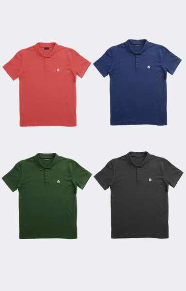 August McGregor Holiday Bundle Four Embroidered AM Clover Pima Pique Polos