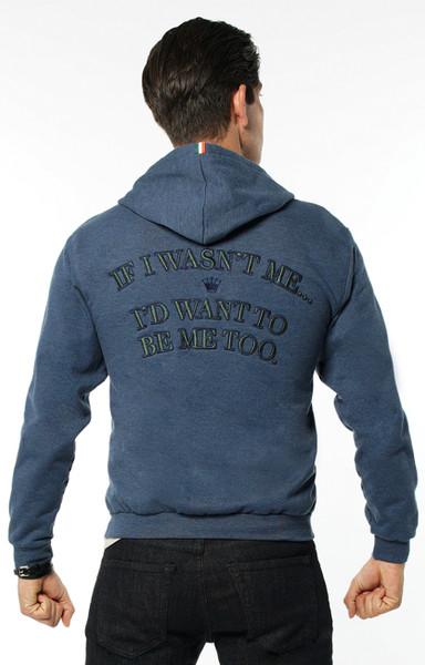 """August McGregor """"If I Wasn't Me..."""" Embroidered Zip Hooded Sweatshirt in Denim Blue"""