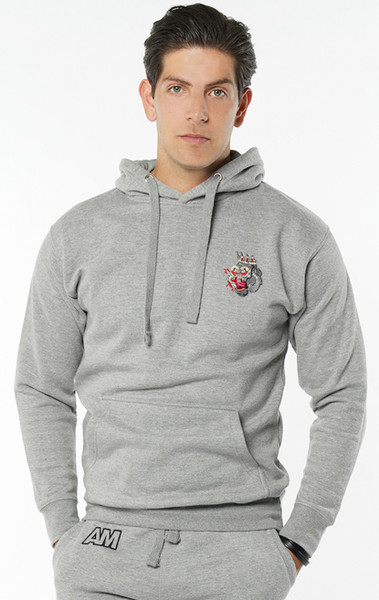 August McGregor Embroidered Blood Hungry Gorilla Hooded Sweatshirt Hoodie in Carbon Grey