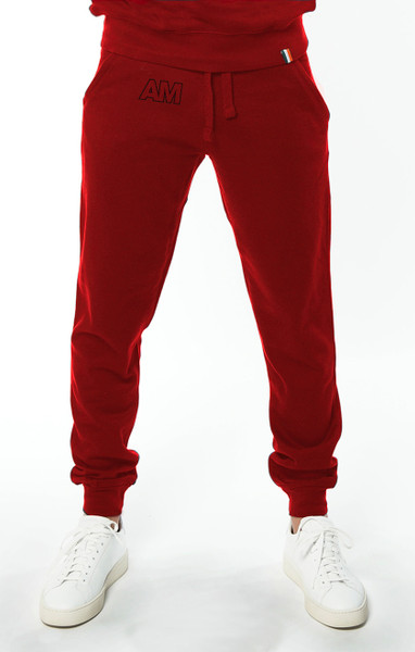August McGregor Embroidered AM jogger sweatpants in Cardinal Red