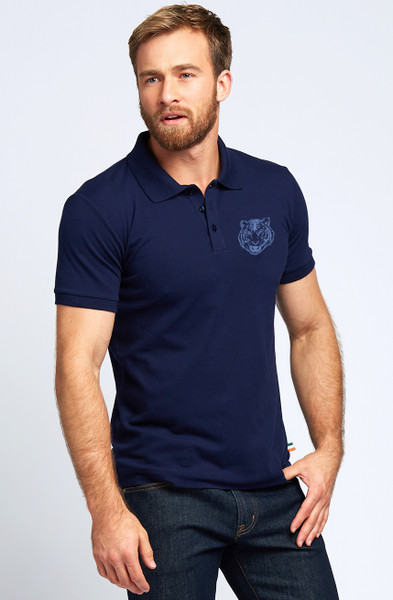 August McGregor Embroidered Dublin Tiger Pima Cotton Pique Polo in Navy