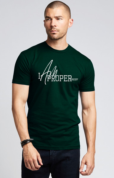 Proper Twelve X August McGregor I AM PROPER Military Style Crewneck T-Shirt in Forest Green