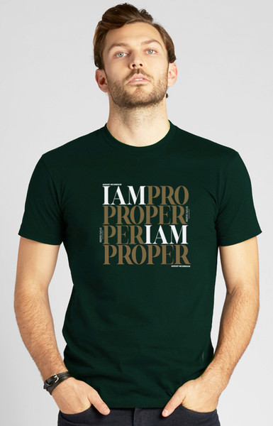 PROPER Gold Square Proper Twelve X August McGregor Crewneck T-Shirt in Forest Green