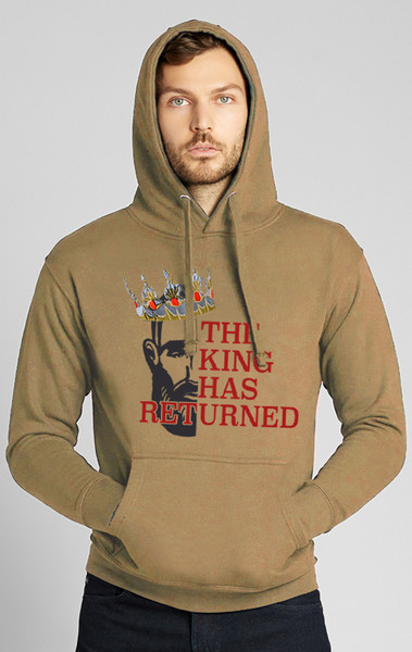 August McGregor The King Has Returned Hooded Sweatshirt with embroidered Crown in Khaki