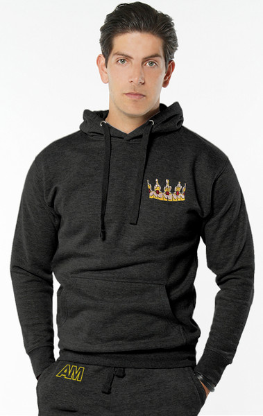 August McGregor Embroidered Crown Hooded Sweatshirt in Charcoal Grey
