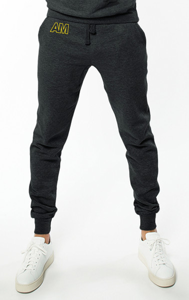 August McGregor Embroidered AM Jogger Sweatpants in Charcoal Grey