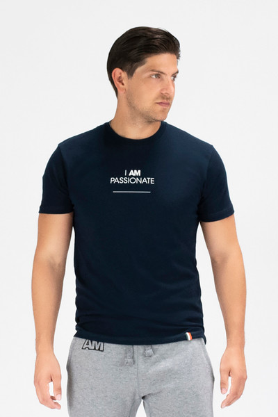 August McGregor I AM PASSIONATE premium cotton-blend crewneck t-shirt in Navy