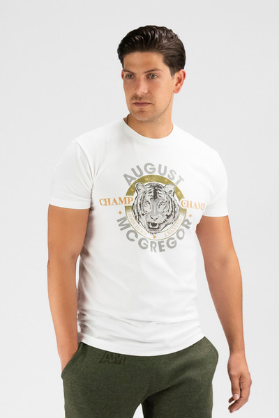 August McGregor Born to Win premium cotton t-shirt in white