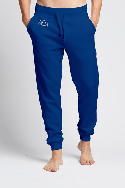 August McGregor embroidered AM monogram jogger sweatpants in Royal Blue