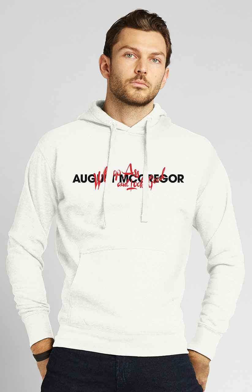 Whoop Ass Embroidered Hooded Sweatshirt in White