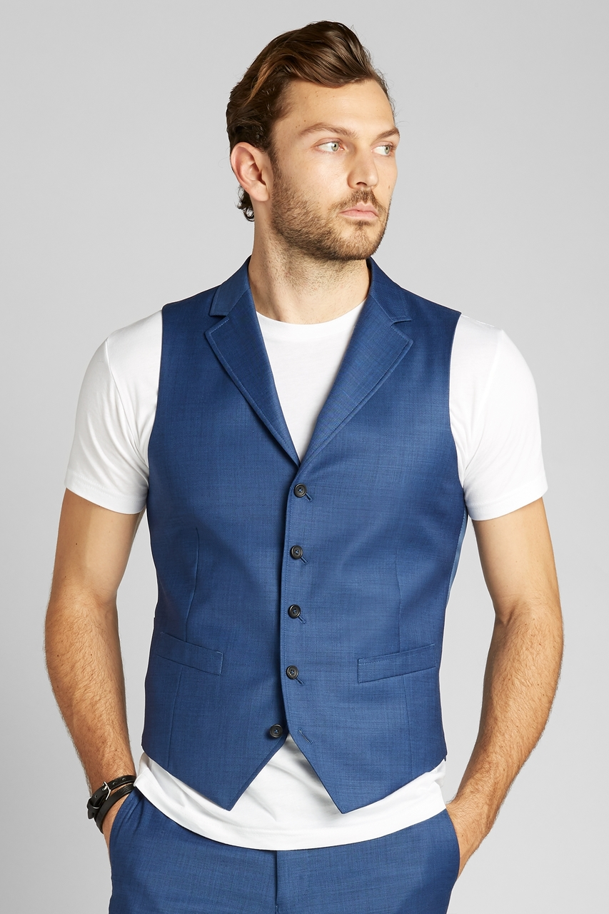 French Blue Sharkskin Vest