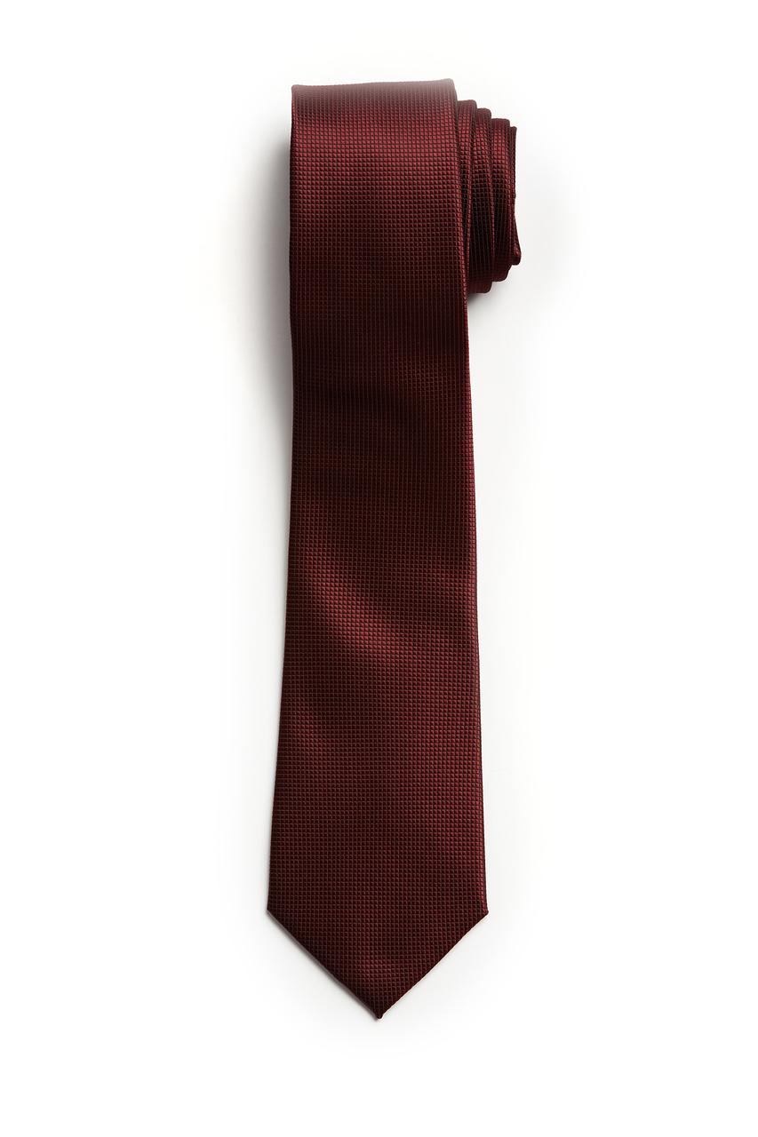 Burgundy Micro Check Textured Skinny Tie