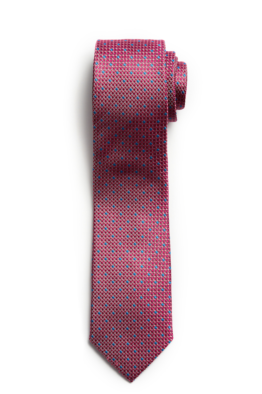 Pink with Blue Check Textured Tie