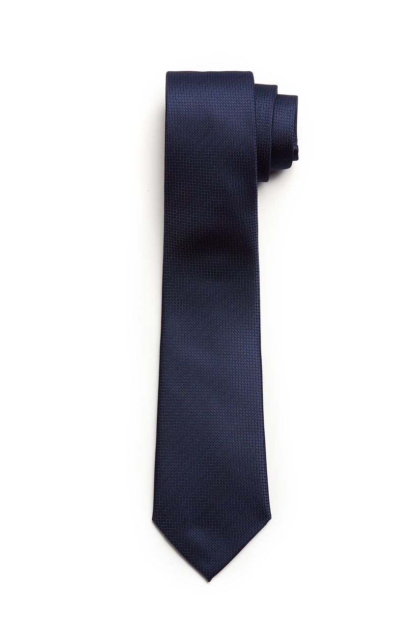 Navy Micro Check Textured Skinny Tie