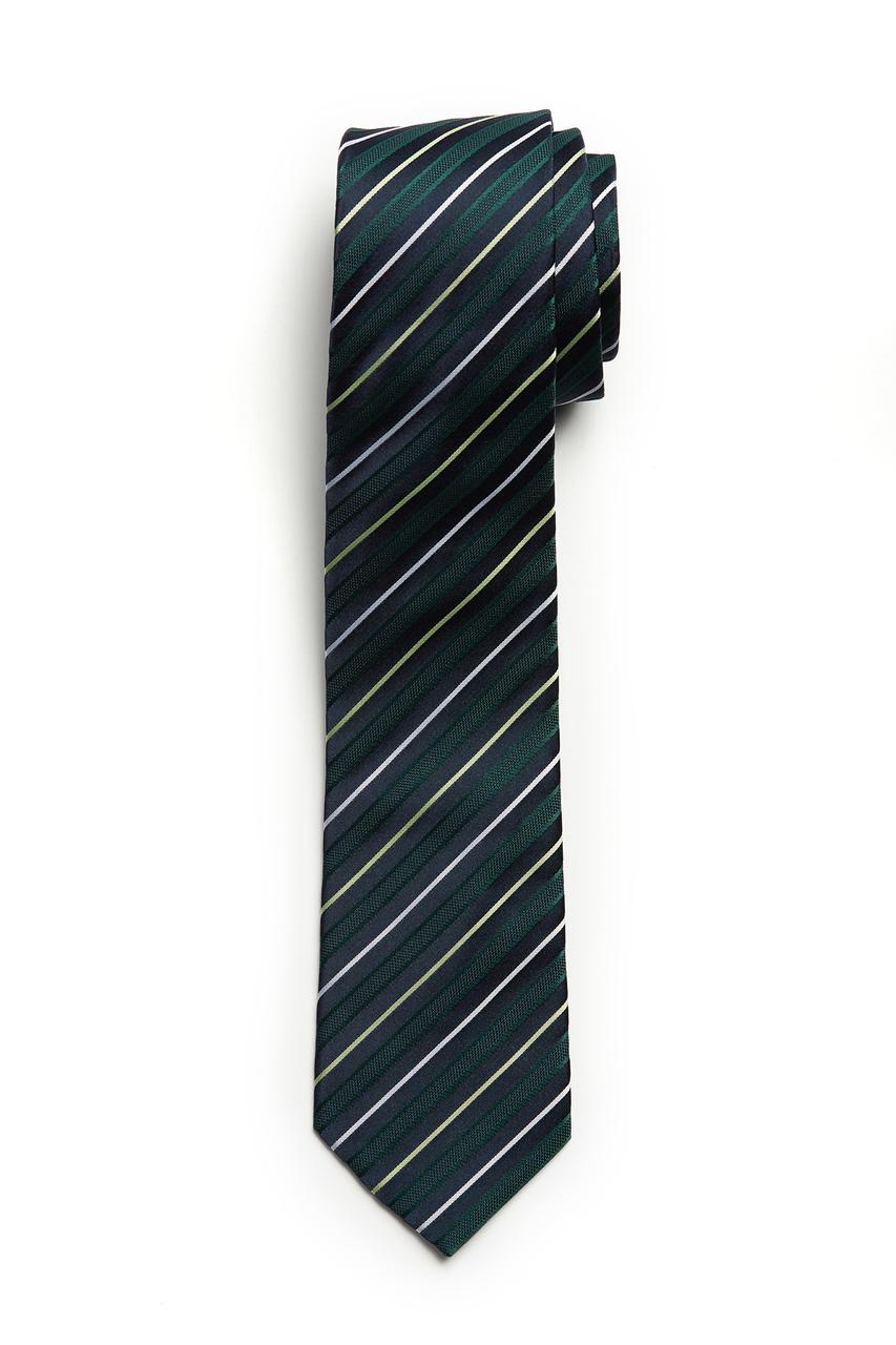 Green Navy Stripe Skinny Tie