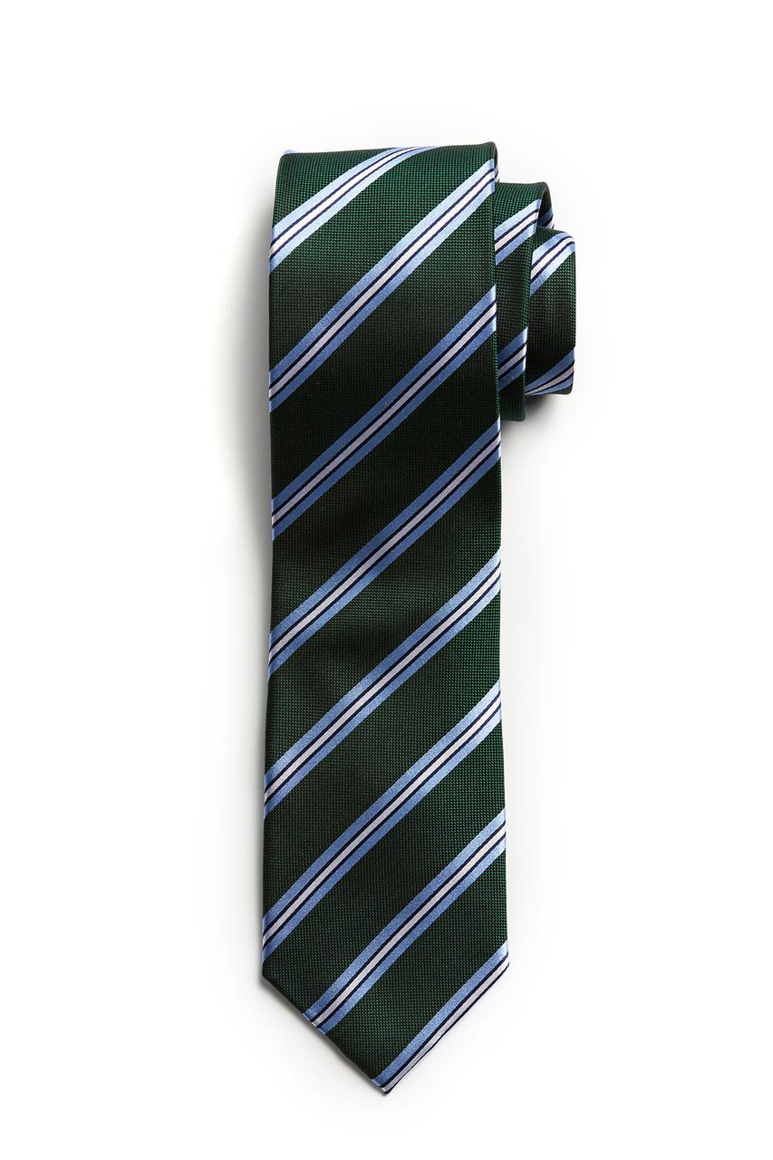 Green with Light Blue Stripe Tie