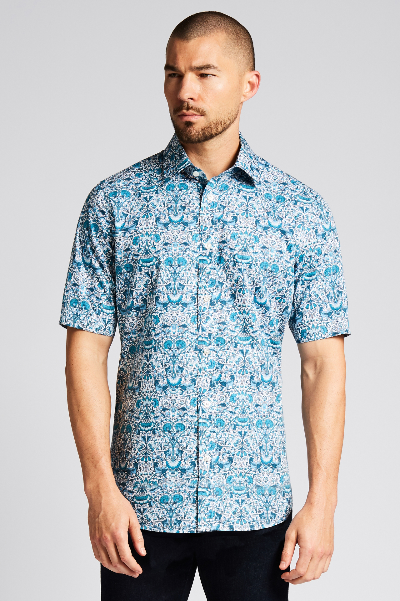 Mackintosh Turquoise Floral Short-Sleeve Button-Front Shirt