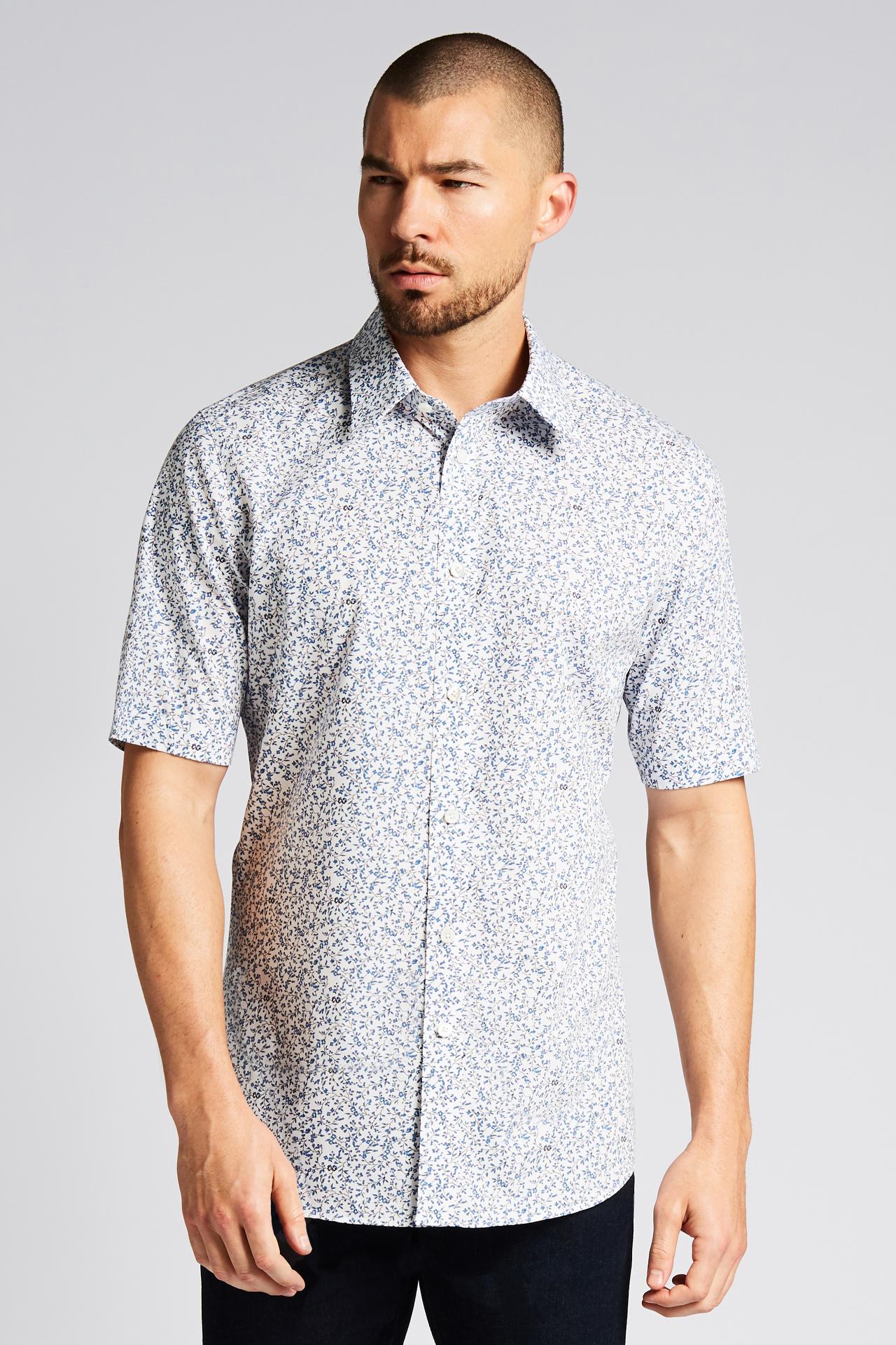 Topanga Blue Vine Short-Sleeve Button-Front Shirt