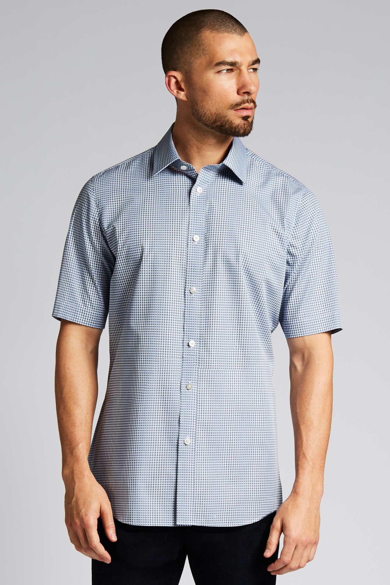 Eyelet Tiger Stripe Short-Sleeve Button-Front Shirt