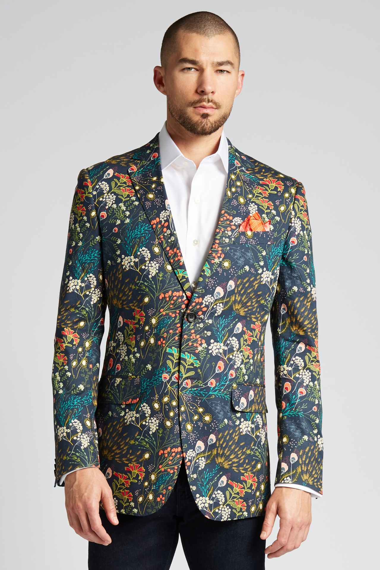 Slim-Fit Cotton Jacket in Crystal Cove Navy Bloom