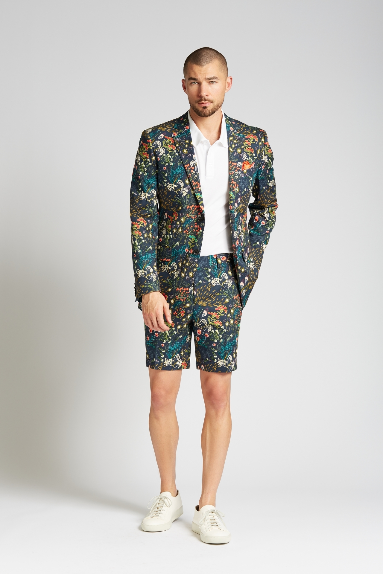 Slim-fit Cotton 2-Piece Shorts Suit in Crystal Cove Navy Bloom