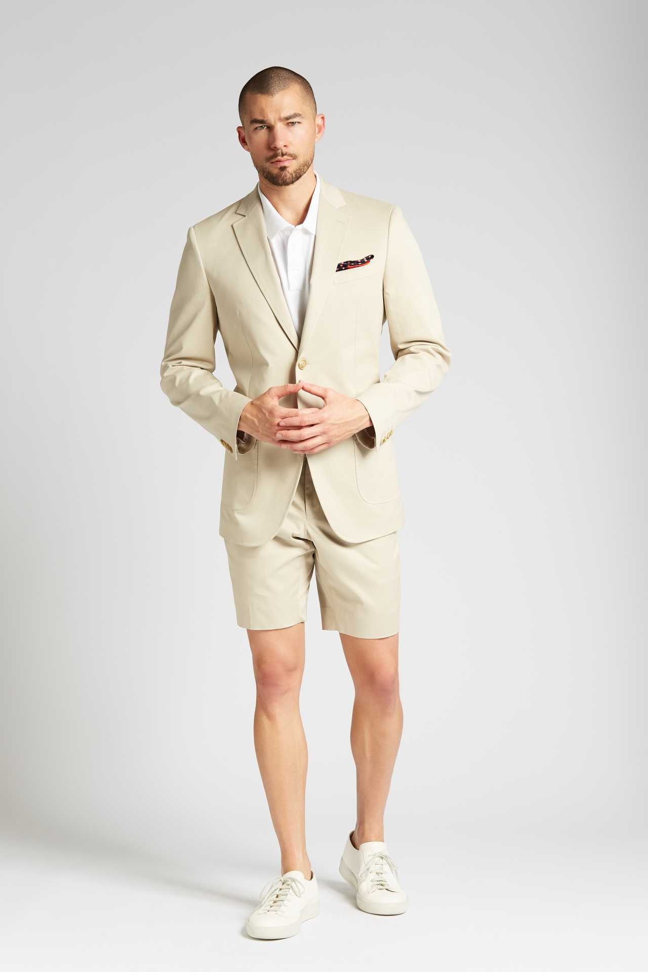 latest style of 2019 detailed pictures official shop Slim-fit Cotton Chino 2-Piece Shorts Suit in Khaki