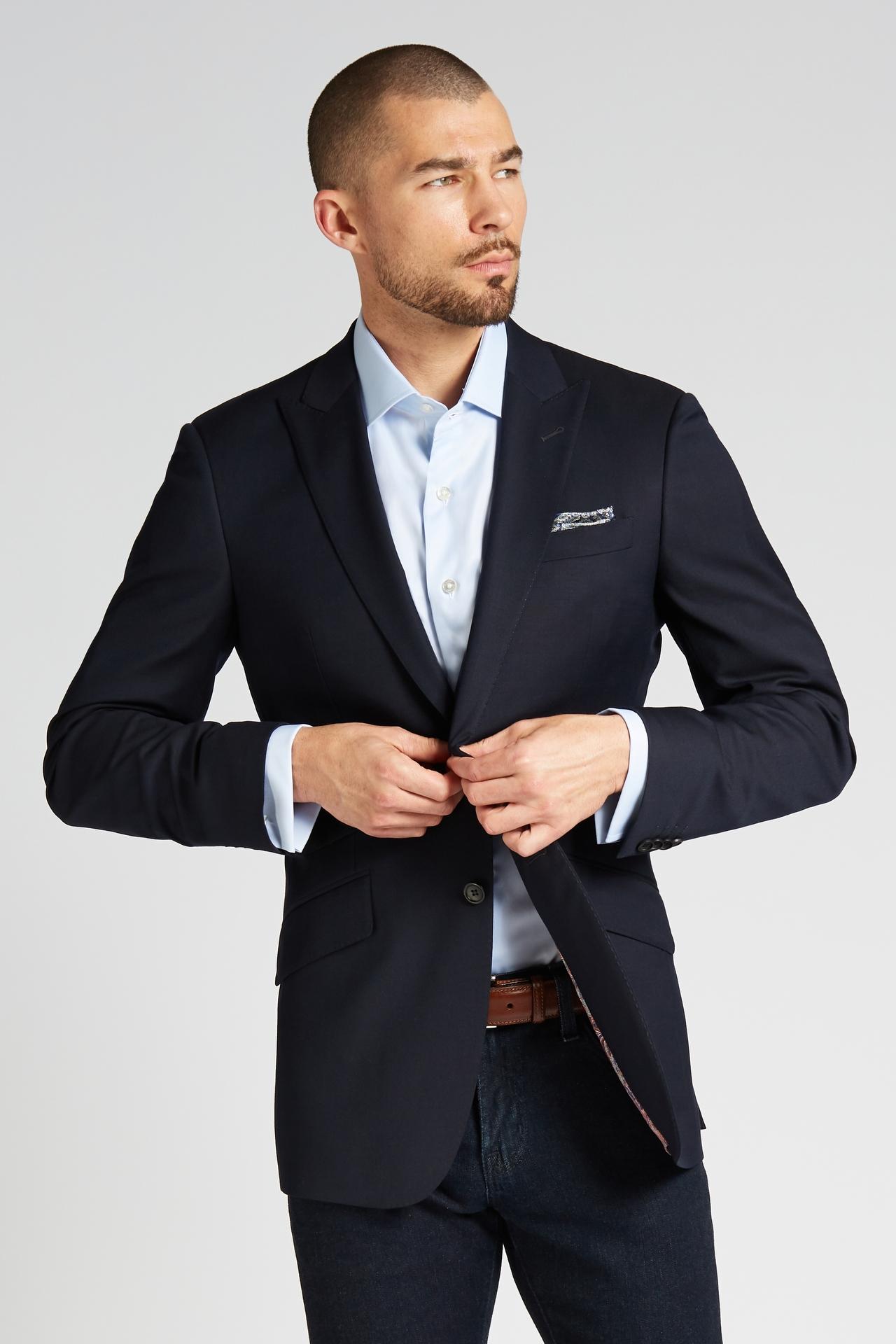 Slim-Fit 4-Season Wool Jacket in Midnight Navy
