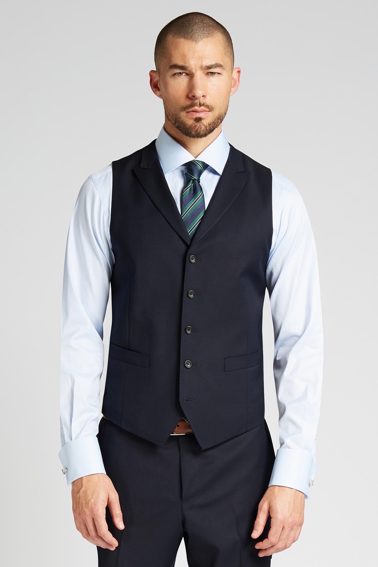 c45bbefe1 Slim-fit 4-Season Wool Vest in Midnight Navy