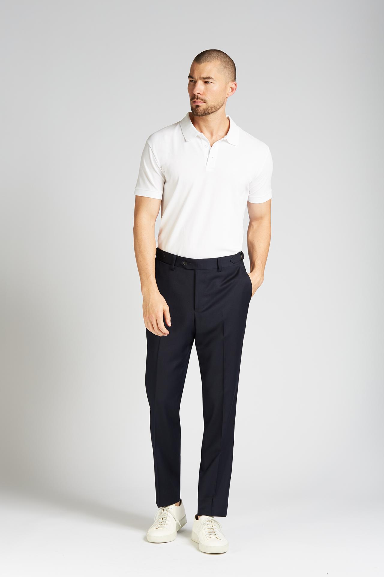 Slim-fit 4-Season Wool Trousers in Midnight Navy