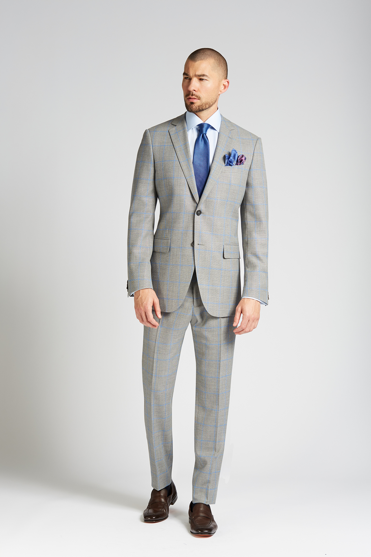 Slim-fit 4 Season Wool 2-Piece Suit in Grey with French Blue Windowpane