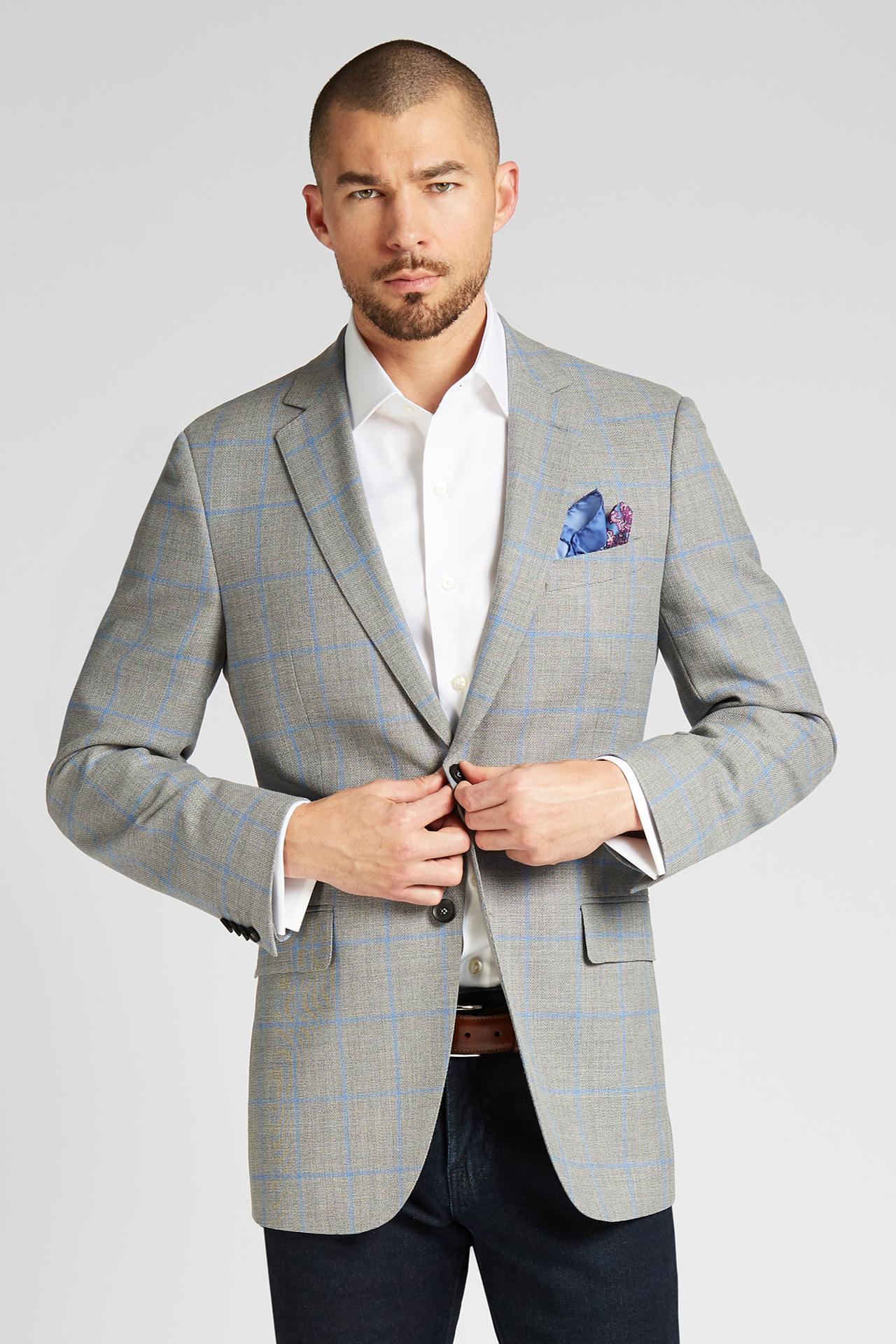 Slim-Fit 4-Season Wool Jacket in Grey with French Blue Windowpane