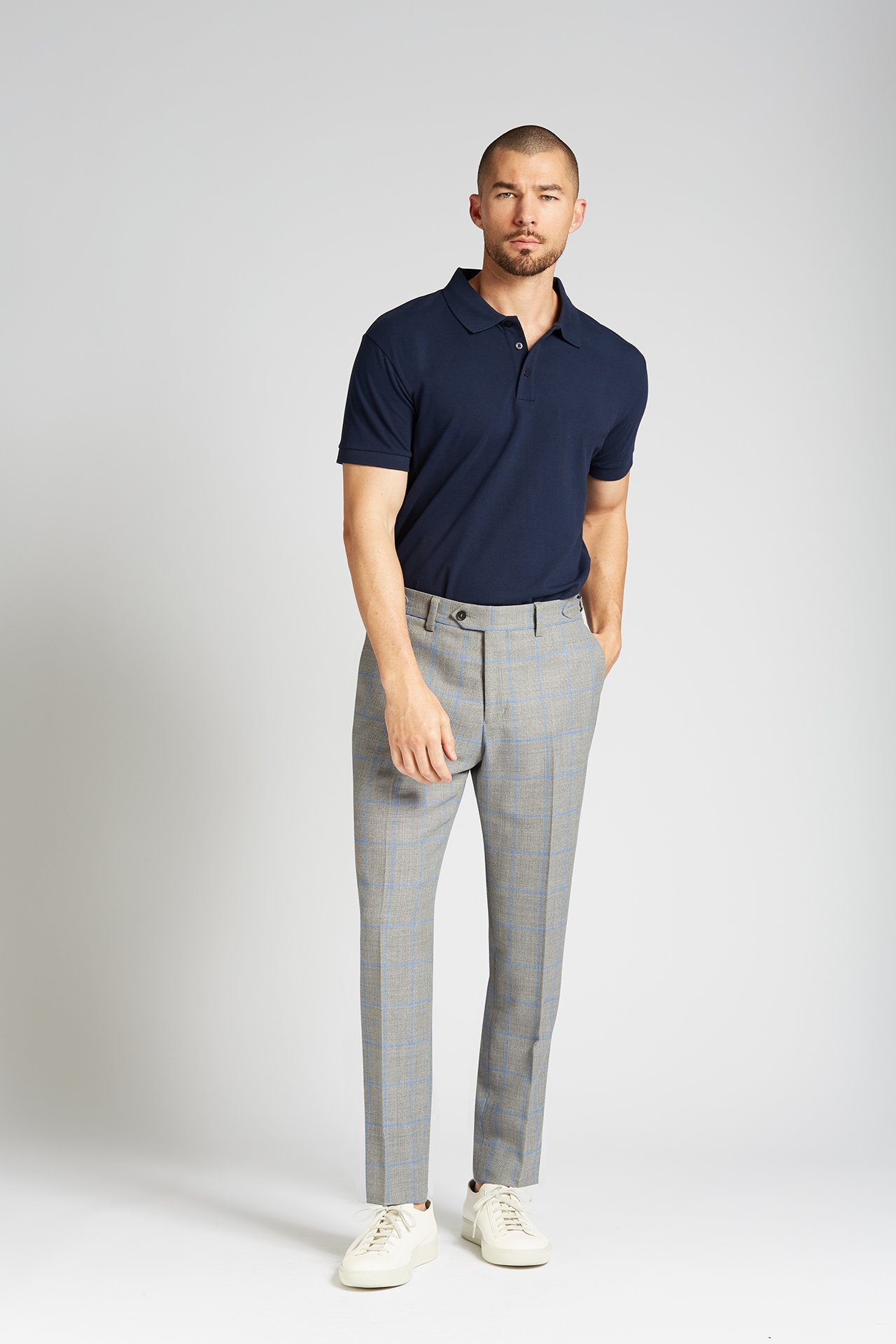Slim-fit 4-Season Wool Trousers in Grey with French Blue Windowpane