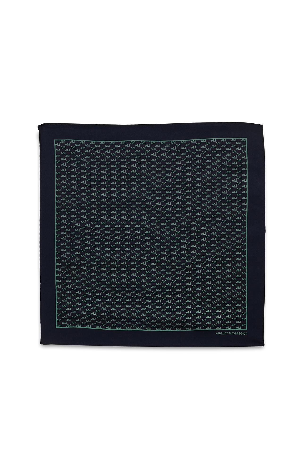 AM Check Navy Green Pocket Square