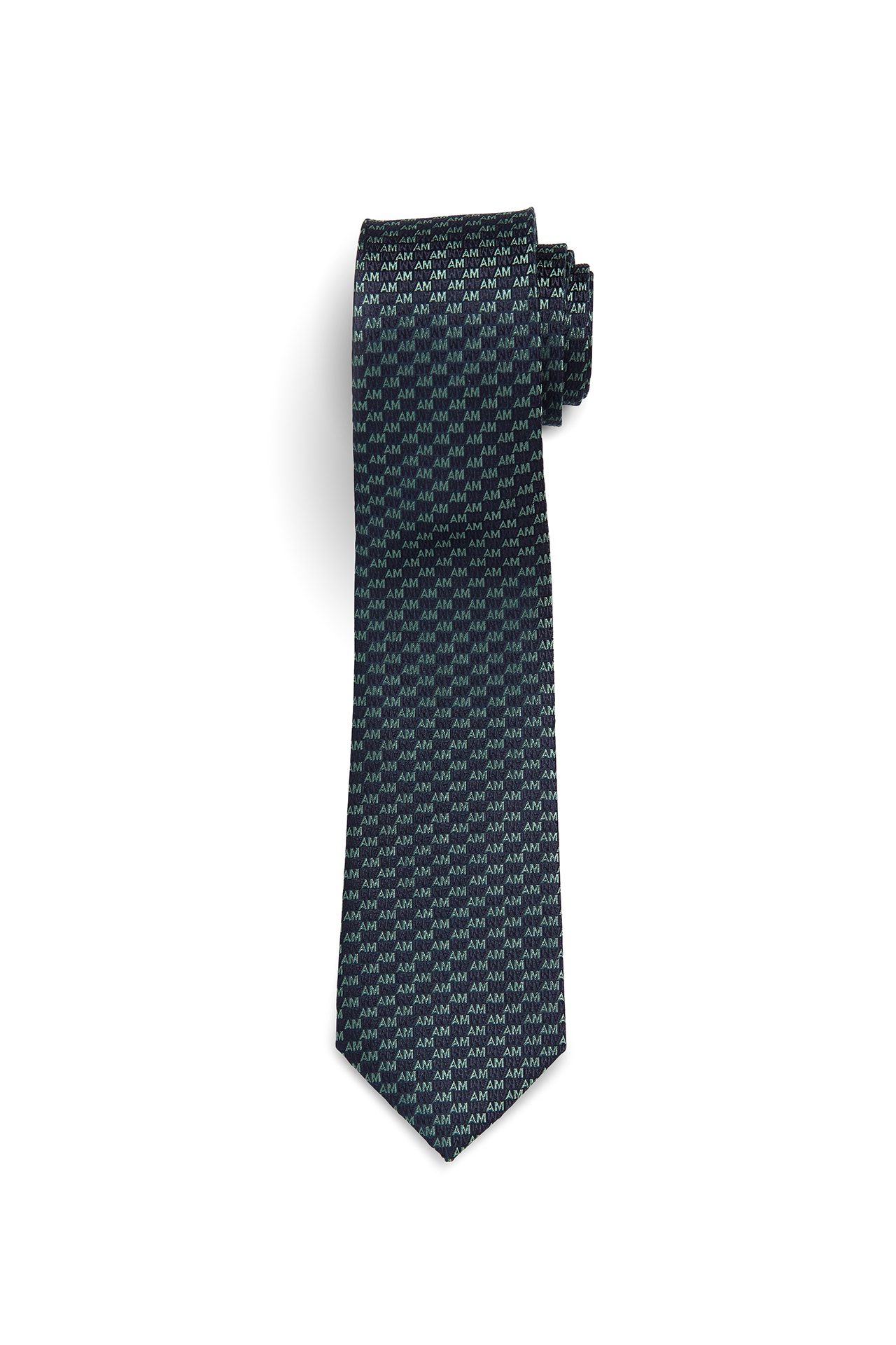 AM Check Navy Green Tie
