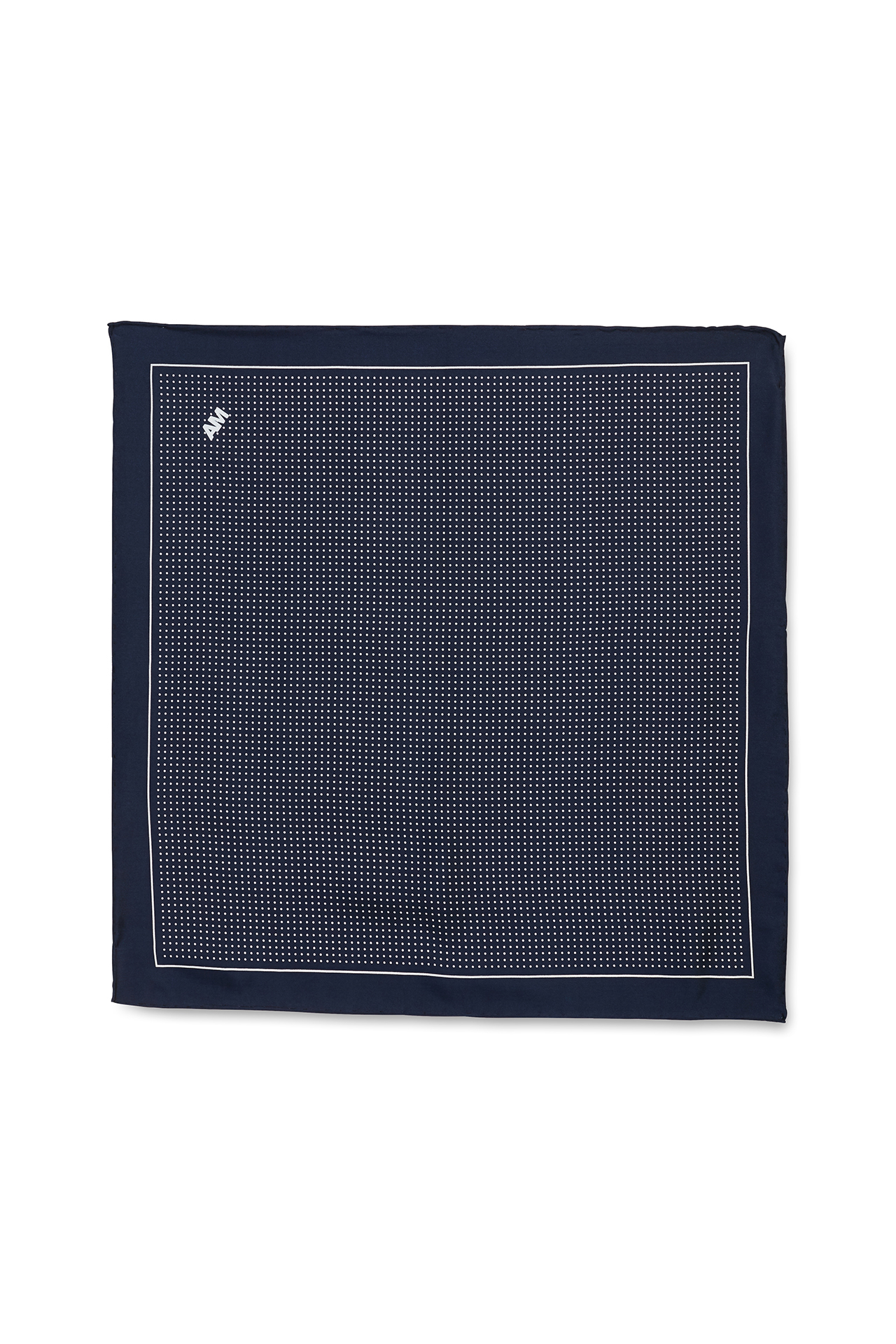 White Polka Dot on Navy Pocket Square