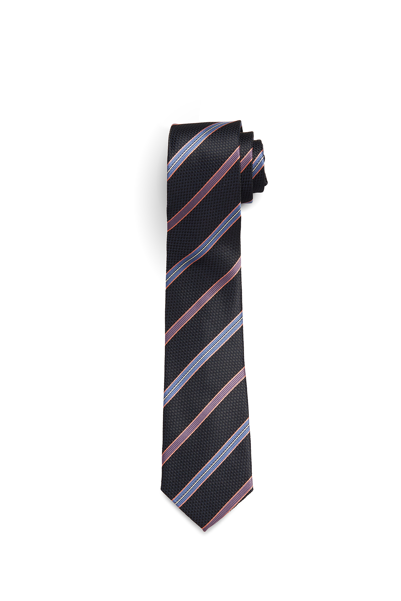 Black with Coral, Lavender and Blue Stripe Tie