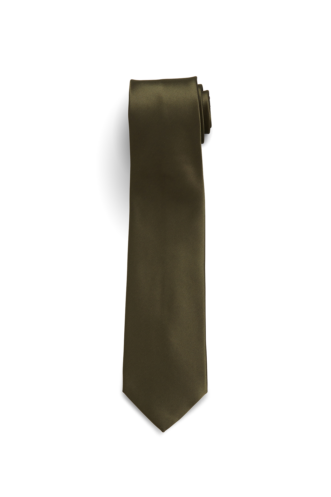 Solid Silk-Satin Olive Green Tie